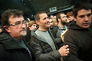 Basque politician Arnaldo Otegi (C) receives a tribute on a public meeting of thousands of people organized by Sortu pro-indpendence party, four days after he left prison. Donostia (Basque Country). March 5, 2016. Arnaldo Otegi is a politician, member of the Basque patriotic left movement, who was arrested in 2009, acused of trying to rebuild outlawed Batasuna pro-independence party, and was given a ten year sentence. In may 2012 Otegi's sentence was reduced to 6 1/2 years by the Spanish Supreme Court, as they decided he was not part of ETA. (Gari Garaialde / Bostok Photo)