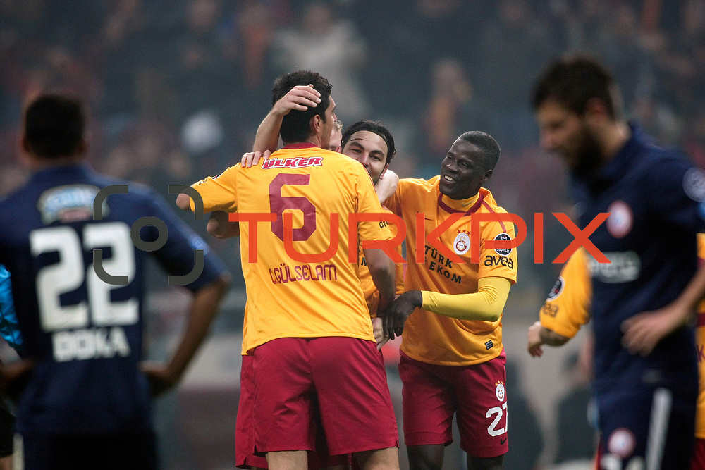 Galatasaray's Selcuk Inan (C) celebrate his goal during their Turkish Super League soccer match Galatasaray between IBBSpor at the TT Arena at Seyrantepe in Istanbul Turkey on Tuesday, 03 January 2012. Photo by TURKPIX