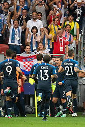 July 15, 2018 - Moscow, Russia - 180715 Lucas Hernandez of France celebrates 1-0 during the FIFA World Cup final match between France and Croatia on July 15, 2018 in Moscow..Photo: Petter Arvidson / BILDBYRÃ…N / kod PA / 92087 (Credit Image: © Petter Arvidson/Bildbyran via ZUMA Press)