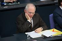 17 FEB 2016, BERLIN/GERMANY:<br /> Wolfgang Schaeuble, CDU, Budnesfinanzminister, Plenum, Deutscher Bundestag<br /> IMAGE: 20160217-03-040<br /> KEYWORDS: Debatte, Wolfgang Schäuble