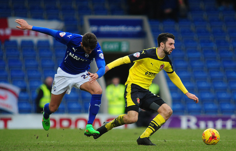 Fleetwood Town's Conor McLaughlin vies for possession with Chesterfield's Oliver Banks<br /> <br /> Photographer Chris Vaughan/CameraSport<br /> <br /> Football - The Football League Sky Bet League One - Chesterfield v Fleetwood Town - Saturday 28th February 2015 - Proact Stadium - Chesterfield<br /> <br /> © CameraSport - 43 Linden Ave. Countesthorpe. Leicester. England. LE8 5PG - Tel: +44 (0) 116 277 4147 - admin@camerasport.com - www.camerasport.com