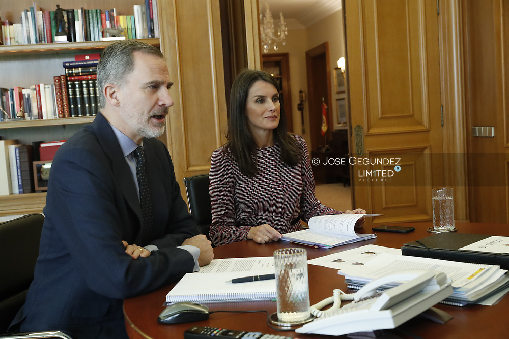 King Felipe VI of Spain, Queen Letizia of Spain attends a videoconference with those responsible for the Madrid Metro at Zarzuela Palace on May 19, 2020 in Madrid, Spain