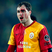 Galatasaray's Johan Elmander during their Turkish superleague soccer derby match Fenerbahce between Galatasaray at Sukru Saracaoglu stadium in Istanbul Turkey on Saturday 17 March 2012. Photo by TURKPIX