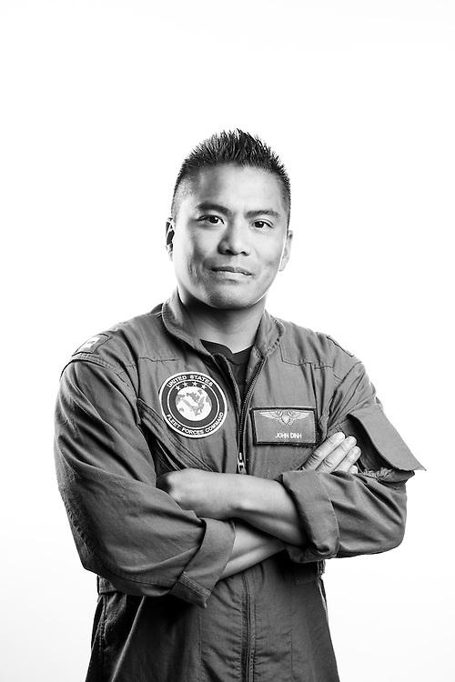 "John Dinh<br /> Navy<br /> O-3<br /> 05/22/98-Present<br /> Naval Flight Officer<br /> OEF, OSW<br /> <br /> ""Coming home from deployment.""<br /> <br /> Veterans Portrait Project<br /> Virginia Beach, VA"