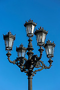 Traditional street lamp in San Vicente de la Barquera, Cantabria, Spain