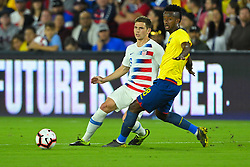 March 21, 2019 - Orlando, Florida, USA - US midfielder Wil Trapp (6) and Ecuador midfielder Jefferson Orejuela (18) go for a ball during an international friendly between the US and Ecuador at Orlando City Stadium on March 21, 2019 in Orlando, Florida. .The US won the game 1-0...©2019 Scott A. Miller. (Credit Image: © Scott A. Miller/ZUMA Wire)