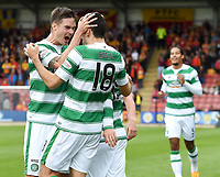 09/08/15 LADBROKES PREMIERSHIP<br /> PARTICK THISTLE v CELTIC<br /> FIRHILL - GLASGOW<br /> Celtic's Tom Rogic (18) celebrates after giving his side the on goal lead