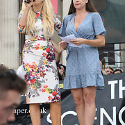24 July 2021, Trafalgar London. Speaker Louise Hampton in London to oppose covid vaccines and government restrictions, London, UK.