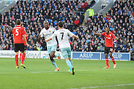 West Ham's Carlton Cole ( centre) celebrates on scoring his sides 1st goal during the Barclays Premier league, Cardiff city v West Ham Utd match at the Cardiff city Stadium in Cardiff, South Wales on Saturday 11th Jan 2014.<br /> pic by Jeff Thomas, Andrew Orchard sports photography.