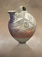 Cycladic askos with hatched painted decoration.  Cycladic III (2300-2000 BC) , Phylakopi, Melos. National Archaeological Museum Athens. Cat no 5826. <br /> <br /> Decorated pottery is rare during this Ccladic period. This Cycladic askos has vertical handle on top with a spout. It has painted decoration of hatched bands and a lozenge pattern .<br /> <br /> If you prefer to buy from our ALAMY PHOTO LIBRARY  Collection visit : https://www.alamy.com/portfolio/paul-williams-funkystock/cycladic-art-artefacts.html Type into the LOWER SEARCH WITHIN GALLERY box to refine search by adding background colour, place, museum etc<br /> <br /> Visit our CYCLADIC CIVILISATIONS PHOTO COLLECTIONS for more photos to download or buy as wall art prints https://funkystock.photoshelter.com/gallery-collection/Cycladic-civilisation-Ancient-Greek-Artefacts-art-Photos-Pictures-Images/C0000CmevVvnC.XU