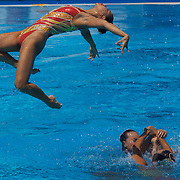 The Chinese team winning gold during the Synchronised swimming team event at the World Swimming Championships in Rome on Saturday, July 25, 2009. Photo Tim Clayton.