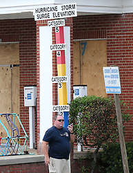 Volunteer firefighter Todd Smith makes final preparations closing down Tybee Island City Hall before Hurricane Irma arrives on Saturday, September 9, 2017, on Tybee Island, Ga. Photo by Curtis Compton/Atlanta Journal-Constitution/TNS/ABACAPRESS.COM