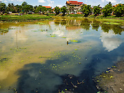 31 MAY 2016 - SIEM REAP, CAMBODIA: Black water, sewage and domestic waste water flow into the Siem Reap River in Siem Reap, Cambodia.    PHOTO BY JACK KURTZ