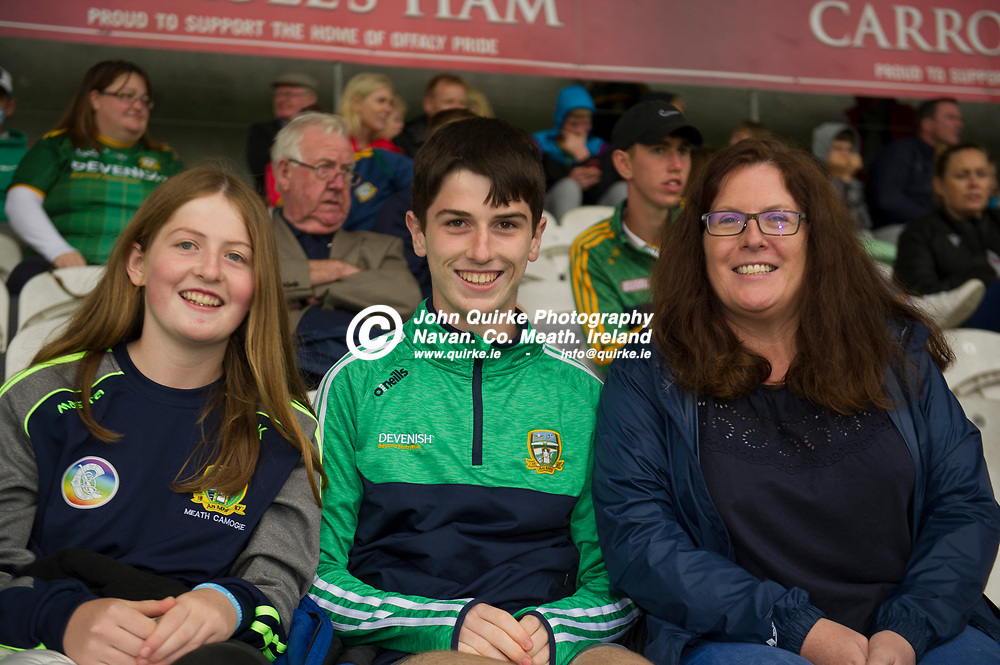 02-08-21. Meath v Dublin - Leinster MFC Final at O'Connor Park, Tullamore.<br /> Meath supporters from left Freda, Jack and Laura Kelly from Ratoath in Tullamore  supporting the Meath Minor Footballers.<br /> Photo: John Quirke / www.quirke.ie<br /> ©John Quirke Photography, 16 Proudstown Road, Navan. Co. Meath. (info@quirke.ie / 046-9028461 / 087-2579454).