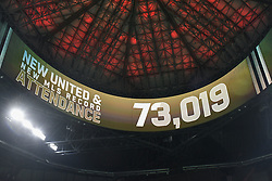 December 8, 2018 - Atlanta, GA, U.S. - ATLANTA, GA Ð DECEMBER 08:  Game attendance is announced on the overheard video board during the MLS Cup between the Portland Timbers and Atlanta United FC on December 8th, 2018 at Mercedes-Benz Stadium in Atlanta, GA.  (Photo by Rich von Biberstein/Icon Sportswire) (Credit Image: © Rich Von Biberstein/Icon SMI via ZUMA Press)