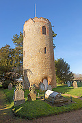 Unusual detached round tower in churchyard of church of Saint Andrew, Bramfield, Suffolk, England, UK
