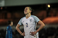 Lucy Bronze (England) (Manchester City) grimaces as a good chance is spurned to get a goal and win the game in the final moments of the Women's International Friendly match between England Ladies and Italy Women at Vale Park, Burslem, England on 7 April 2017. Photo by Mark P Doherty.