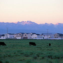 Cattle ranches give way to subdivisions and the Wasatch Range in the urban sprawl zone north of Salt Lake City.  Syracuse, UT
