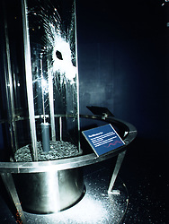 The shattered case containing the Millennium Star diamond after the raid on the Millennium Dome November 2000.  The actual diamond had been substituted for a replica ahead of the attack.  Four men were found guilty at the Old Bailey in London of plotting to carry out the robbery.