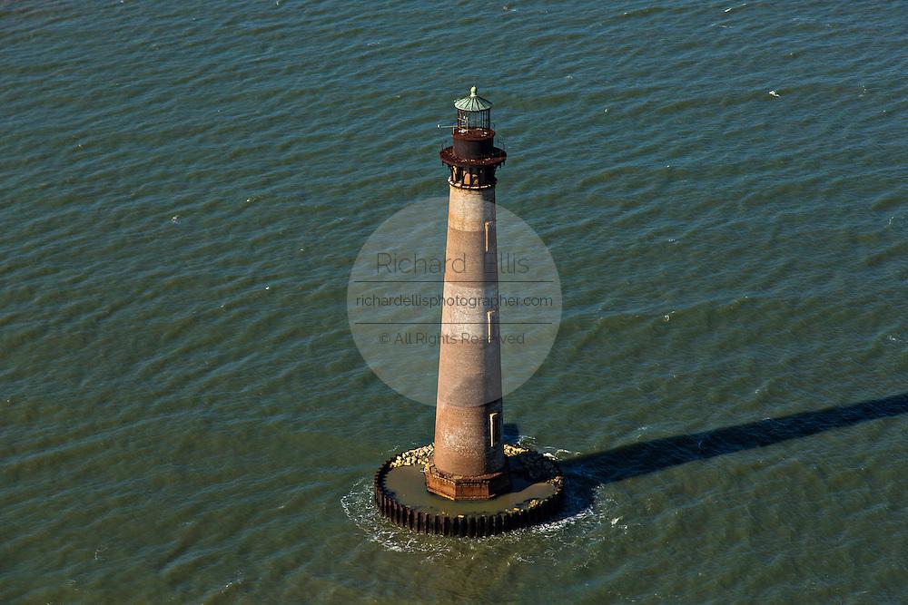 Aerial of the historic Morris Lighthouse Morris Island, South Carolina.