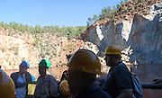 Tourists at Peña del Hierro Mine, Minas de Riotinto, Rio Tinto mining area, Huelva province, Spain
