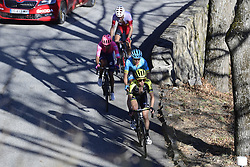 March 16, 2019 - Col De Turini, France - YATES Simon Philip (GBR) of MITCHELTON - SCOTT, MARTINEZ POVEDA Daniel Felipe (COL) of EF EDUCATION FIRST, LOPEZ MORENO Miguel Angel (COL) of ASTANA PRO TEAM and EDET Nicolas (FRA) of COFIDIS, SOLUTIONS CREDITS in action during stage 7 of the 2019 Paris - Nice cycling race with start in Nice and finish in Col de Turini  on March 16, 2019 in Col De Turini, France, (Credit Image: © Panoramic via ZUMA Press)