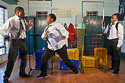 Daniel Kekana, D'Anne Mahlangu and Kitty Moepang, AREPP: Theatre for Life actors during a rehearsal for there show 'About Us – Stepping Up'. AREPP: Theatre for Life provides interactive social life skills education to schoolchildren through theatre productions. They are based in Johannesburg, South Africa and are about to go on tour for 3 months doing performances everyday at schools across the country.