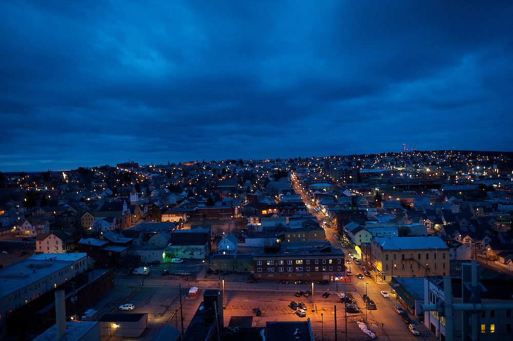 Dusk falls upon Hazleton, PA on March 28, 2013, as seen from atop the Markle Building.