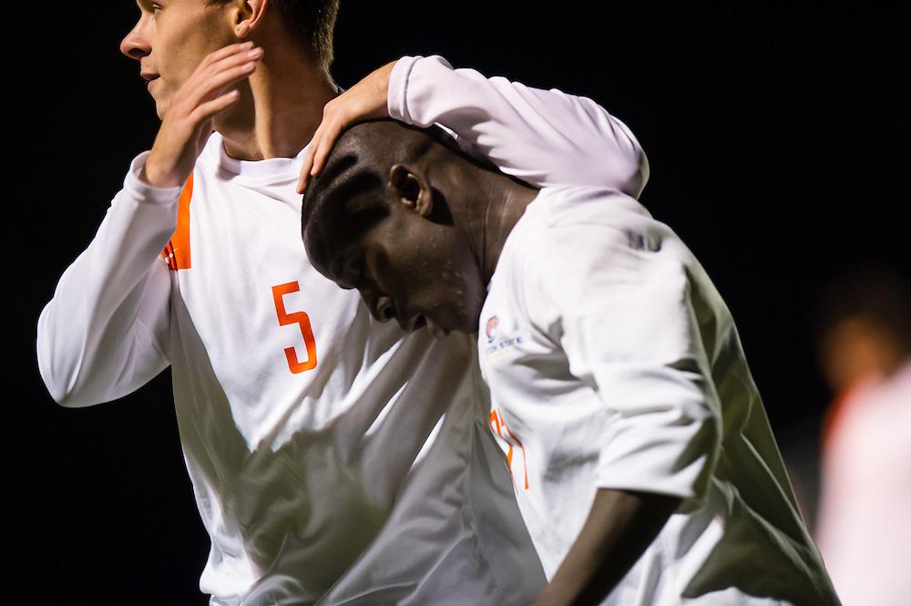 Oct 23, 2013; Morrow, GA, USA; Clayton State men's soccer players Alhagi Toure and Samuel Barnsley against Georgia Southwestern at CSU. CSU won 3-2. Photo by Kevin Liles/kevindliles.com