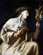 St Teresa (Theresa) of Avila before the Cross. Spanish nun (1515-1582): Reformer of Carmelite order. Guido Cagnacci (1601-1681). Oil on canvas. Private collection.