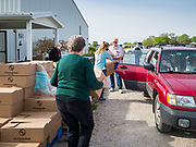 16 MAY 2020 - PERRY, IOWA:  Volunteers load food into a car during a drive through Foodbank of Iowa emergency pantry at Crossroads Church in Perry. Food insecurity has skyrocketed in Iowa because of the pandemic shutdowns. The emergency pantry in Perry distributed all 200 meal boxes in less than 45 minutes. Emergency food pantry use has more than doubled in Perry since March. The Tyson pork processing plant in Perry is the community's largest employer. It had been shut down for deep cleaning because many workers in the plant tested positive for COVID-19. Since the start of the Coronavirus (SARS-CoV-2) pandemic and resulting shutdowns, nearly 300,000 Iowans, representing 20% of the eligible workforce, have applied for unemployment benefits in Iowa. Even though the Governor has reopened the Iowa economy, the number of COVID-19 infections continues to increase.      PHOTO BY JACK KURTZ