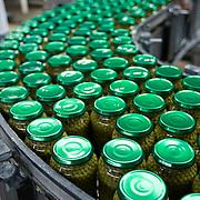 Nederland Giessen 26 augustus 2009 20090826 ..Serie over levensmiddelensector                                                                                      .HAK fabriek, verwerking groente. Automatisering, vele potjes met groene doperwten worden via de lopende band getransportreerd. Automation, green vegetables in jars are being transported, assembly line..Foto: David Rozing