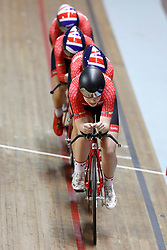 Team Breeze led by Abigail Dentus, Jessica Roberts, Rebecca Raybould and Jenny Holl, on their way to winning the Team Pursuit Final, during day two of the HSBC UK National Track Championships at The National Cycling Centre, Manchester.