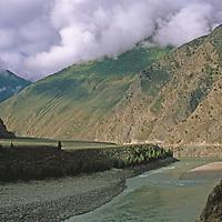 The Yarlung Tsangpo River drains in the northern Himalaya.