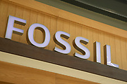 Sign for the watches and accessories brand Fossil in Birmingham, United Kingdom.