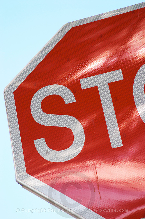 Detail of a red Stop sign with text ST. Dubrovnik, new city. Dalmatian Coast, Croatia, Europe.