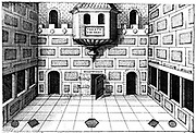 Only known genuine illustration of interior of Globe Theatre, Bankside, Southwark, London. Stage of second Globe built on foundations and in same style as first Globe immediately after fire of 1613. Theatre here used as memory device based on entrances and shapes of pillars at front. From Robert Fludd 'Utriusque cosmi ... historia', Oppenheim, 1617-1619.