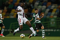 October 22, 2017 - Lisbon, Portugal - Sporting's midfielder Bruno Fernandes (R) vies for the ball with Chaves's midfielder Jefferson (L)  during Primeira Liga 2017/18 match between Sporting CP vs GD Chaves, in Lisbon, on October 22, 2017. (Credit Image: © Carlos Palma/NurPhoto via ZUMA Press)