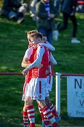 Broxburn Athletic's Alexander Millerc elebrates after scoring their first goal from a penalty. half time : Broxburn Athletic FC 1 v 0 Cowdenbeath, William Hill Scottish Cup 2nd Round replay played 26/10/2019 at Albyn Park, Greendykes Road, Broxburn.