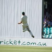 Mitchell Johnson catches Umar Akmal off the bowling of Doug Bollinger during the Australia V Pakistan 2nd Cricket Test match at the Sydney Cricket Ground, Sydney, Australia, 6 January 2010. Photo Tim Clayton