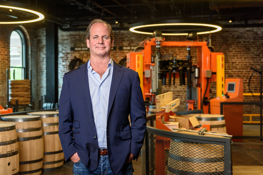 Old Forester President and Managing Director Campbell P. Brown, is photographed Friday, June 8, 2018 in the cooperage area of the soon to open Old Forester Distilling Company, on Whisky Row at 119 W Main Street in Louisville, Ky.