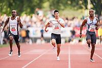 09.07.2019; Luzern; LEICHTATHLETIK - Spitzenleichtathletik Luzern,  Kemar Hyman (CAY), Yoshihide Kiryu (JPN), Akani Simbine (RSA), 100m Maenner ; <br /> <br /> (Claudio Thoma/freshfocus)