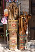 Greece, Epirus, Monodendri village, Souvenir shop selling wooden walking sticks