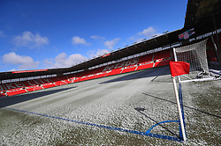 General view of a light covering of snow on the pitch ahead of the Premier League match at the bet365 Stadium, Stoke.