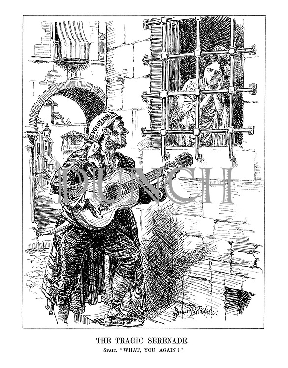 "A Tragic Serenade. Spain. ""What, you again?"" (an imprisoned Spain is serenaded by a guitar playing pirate of Revolution)"