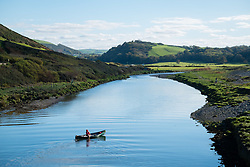 ©Licensed to London News Pictures. Aberystwyth, UK. 18/10/ 2018.<br /> UK Weather: Kayakers paddling up the River Ystwyth on a gloriously sunny and warm afternoon in Aberystwyth on the west coast of Wales. Photo credit : Keith Morris/ LNP