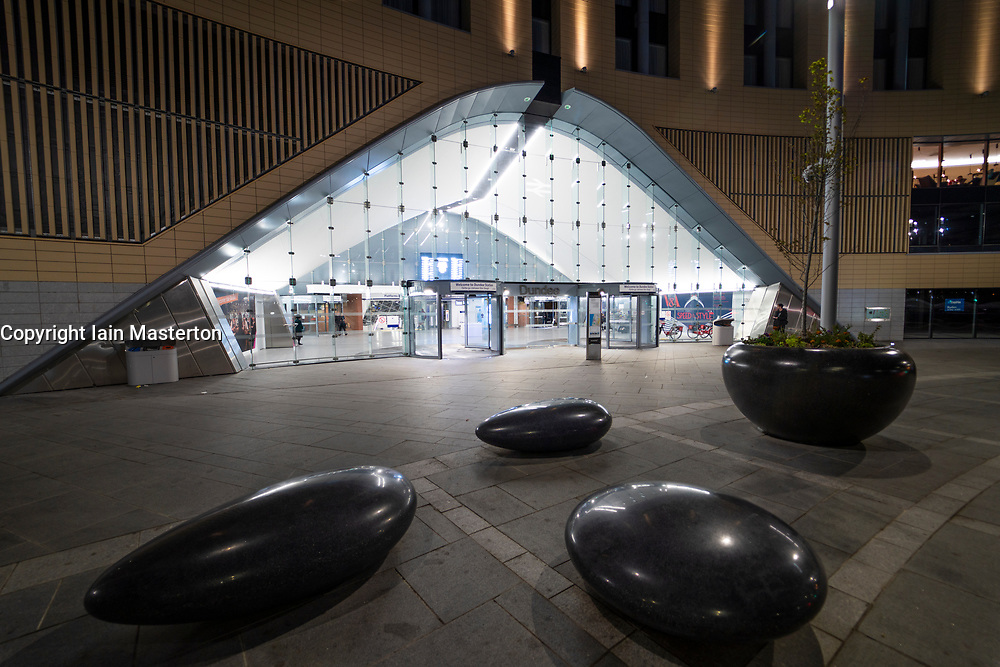 Night view of exterior of Dundee railway station, in Tayside, Scotland, UK