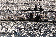 Rowing teams silhouetted on a lake.