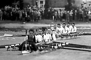 Peter Spurrier Sports Photo<br /> email pictures@rowingpics.com<br /> 44 (0) 7973 819 551<br /> Boat Race 2001<br /> <br /> Cambridge, cross over into Oxford's water, approaching  Dukes Meadows. [Mandatory Credit; Peter SPURRIER/Intersport Images]<br /> <br /> 20010324 University Boat Race, Putney to Mortlake, London, Great Britain.