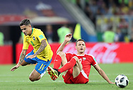 Philippe Coutinho of Brazil is tackled by Nemanja Matic of Serbia during the 2018 FIFA World Cup Russia, Group E football match between Erbia and Brazil on June 27, 2018 at Spartak Stadium in Moscow, Russia - Photo Tarso Sarraf / FramePhoto / ProSportsImages / DPPI